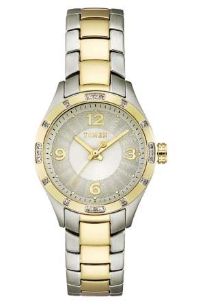 Timex Dámské stříbrnozlaté hodinky s drahokamy 70d9695e60