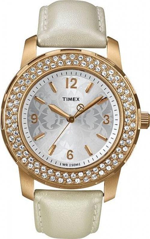 Timex Dámské zlaté hodinky osazené kameny 0f00e9bf4f